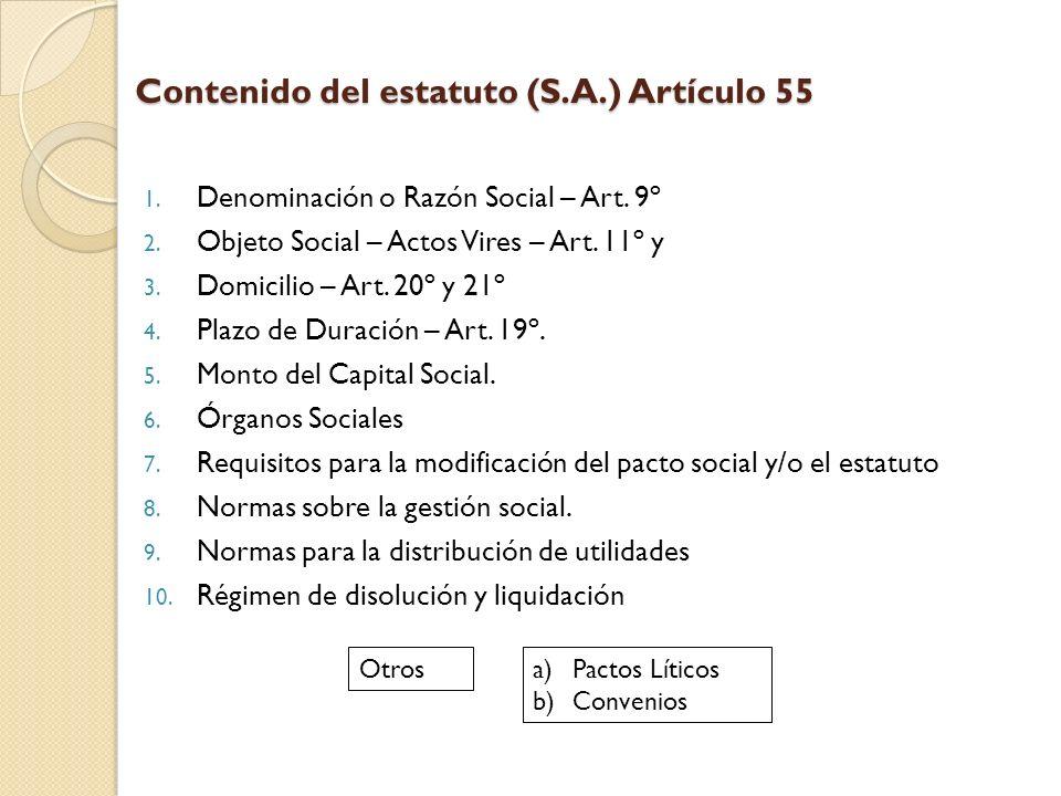 Contenido del estatuto (S.A.) Artículo 55 1. Denominación o Razón Social – Art. 9º 2. Objeto Social – Actos Vires – Art. 11º y 3. Domicilio – Art. 20º
