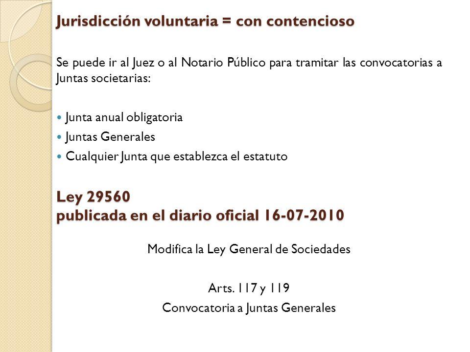 Jurisdicción voluntaria = con contencioso Se puede ir al Juez o al Notario Público para tramitar las convocatorias a Juntas societarias: Junta anual o