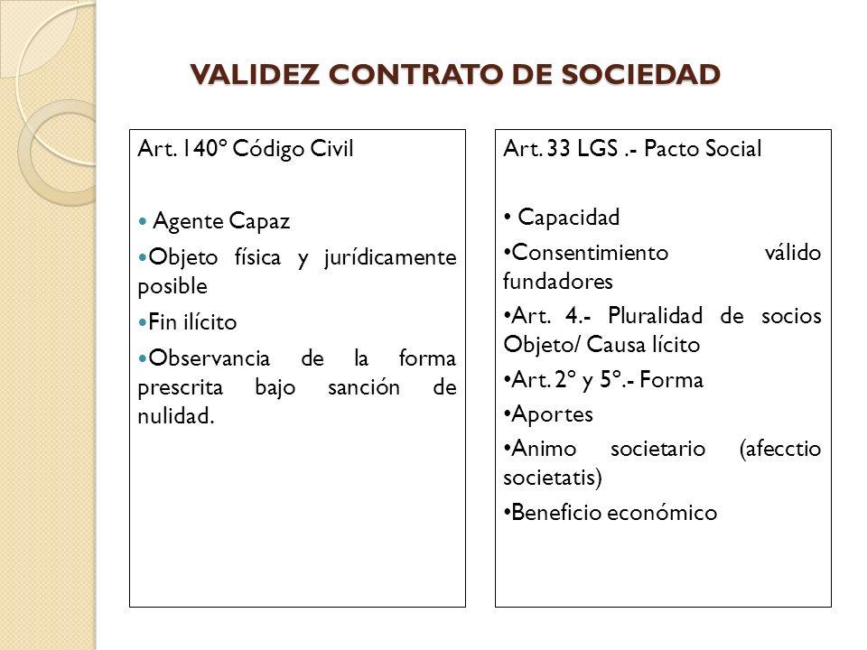 VALIDEZ CONTRATO DE SOCIEDAD Art. 140º Código Civil Agente Capaz Objeto física y jurídicamente posible Fin ilícito Observancia de la forma prescrita b