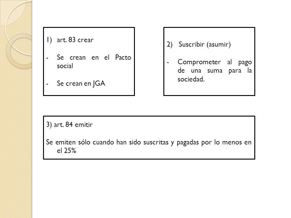 1)art. 83 crear -Se crean en el Pacto social -Se crean en JGA 2) Suscribir (asumir) -Comprometer al pago de una suma para la sociedad. 3) art. 84 emit