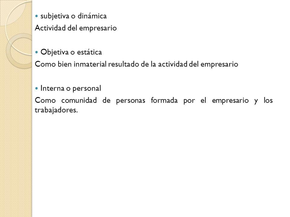 subjetiva o dinámica Actividad del empresario Objetiva o estática Como bien inmaterial resultado de la actividad del empresario Interna o personal Com