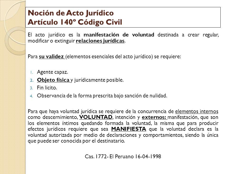 Noción de Acto Jurídico Artículo 140º Código Civil El acto jurídico es la manifestación de voluntad destinada a crear regular, modificar o extinguir r