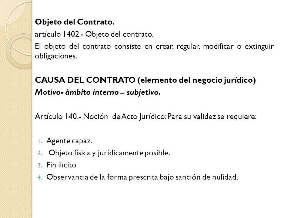 Objeto del Contrato. artículo 1402.- Objeto del contrato. El objeto del contrato consiste en crear, regular, modificar o extinguir obligaciones. CAUSA