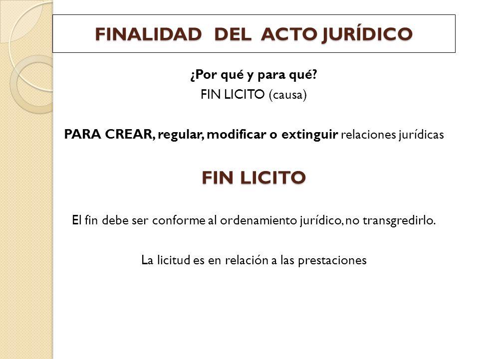FINALIDAD DEL ACTO JURÍDICO ¿Por qué y para qué? FIN LICITO (causa) PARA CREAR, regular, modificar o extinguir relaciones jurídicas FIN LICITO El fin