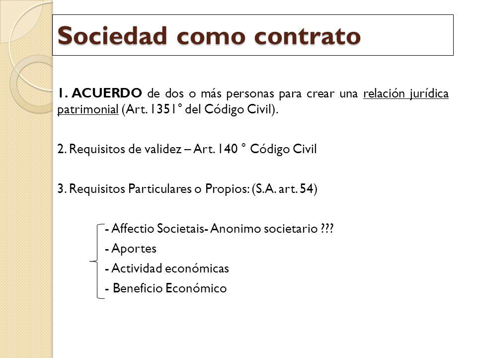 Sociedad como contrato 1. ACUERDO de dos o más personas para crear una relación jurídica patrimonial (Art. 1351° del Código Civil). 2. Requisitos de v