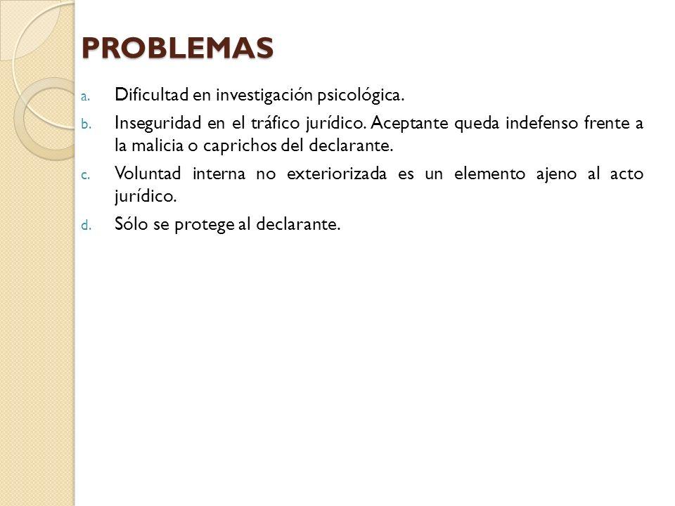 PROBLEMAS a. Dificultad en investigación psicológica. b. Inseguridad en el tráfico jurídico. Aceptante queda indefenso frente a la malicia o caprichos