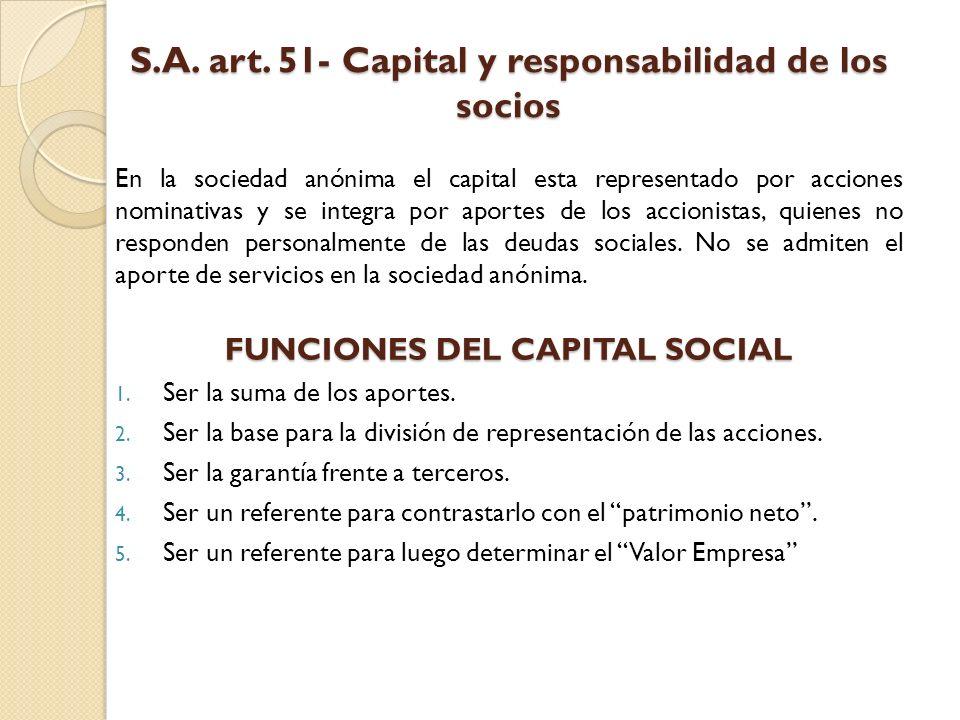S.A. art. 51- Capital y responsabilidad de los socios En la sociedad anónima el capital esta representado por acciones nominativas y se integra por ap