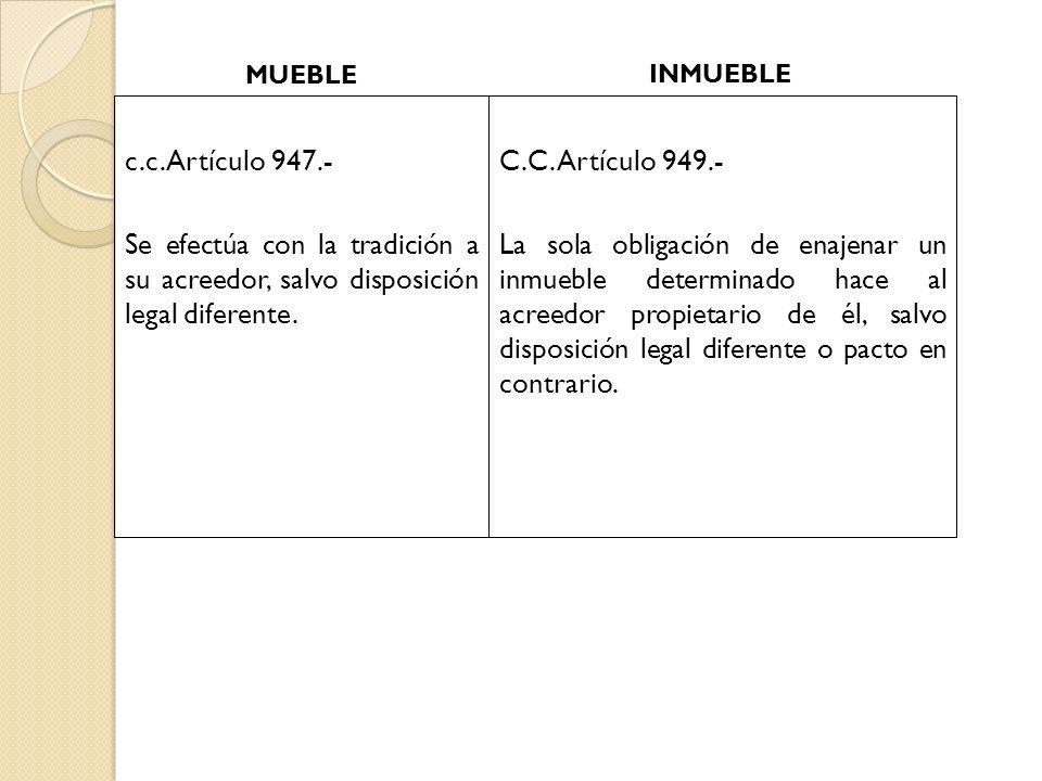 c.c. Artículo 947.- Se efectúa con la tradición a su acreedor, salvo disposición legal diferente. C.C. Artículo 949.- La sola obligación de enajenar u