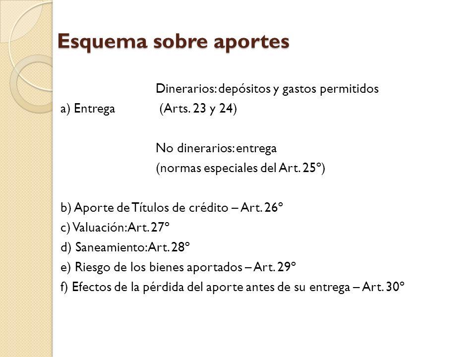 Esquema sobre aportes Dinerarios: depósitos y gastos permitidos a) Entrega (Arts. 23 y 24) No dinerarios: entrega (normas especiales del Art. 25º) b)