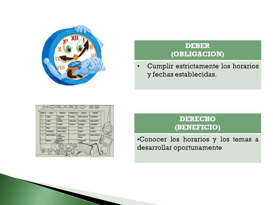 DEBER (OBLIGACION) Cumplir estrictamente los horarios y fechas establecidas. DERECHO (BENEFICIO) Conocer los horarios y los temas a desarrollar oportu