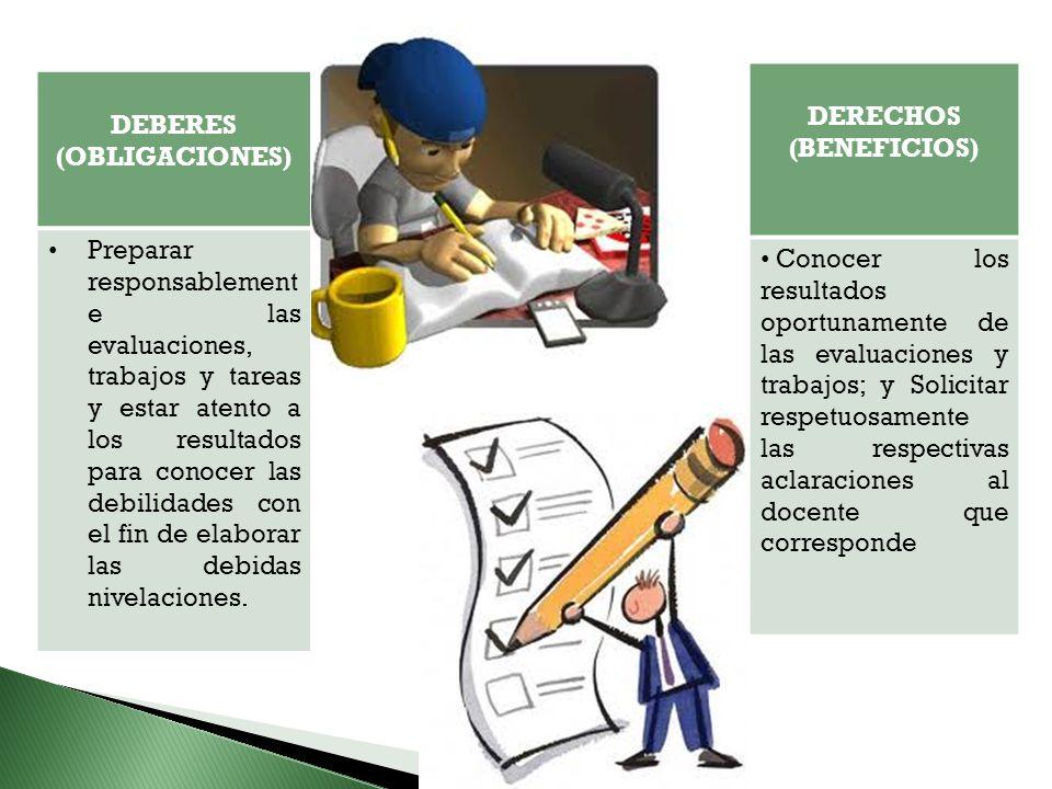 DEBERES (OBLIGACIONES) Preparar responsablement e las evaluaciones, trabajos y tareas y estar atento a los resultados para conocer las debilidades con