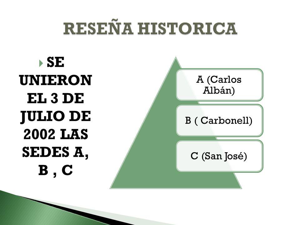 SE UNIERON EL 3 DE JULIO DE 2002 LAS SEDES A, B, C A (Carlos Albán) B ( Carbonell)C (San José)