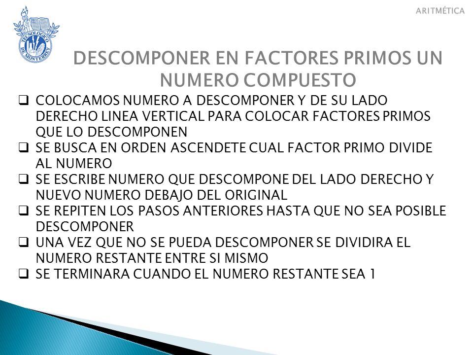 DESCOMPONER EN FACTORES PRIMOS UN NUMERO COMPUESTO EL RESULTADO SE PODRA EXPRESAR DE DOS FORMAS POSIBLES a)FORMA DESARROLLADA