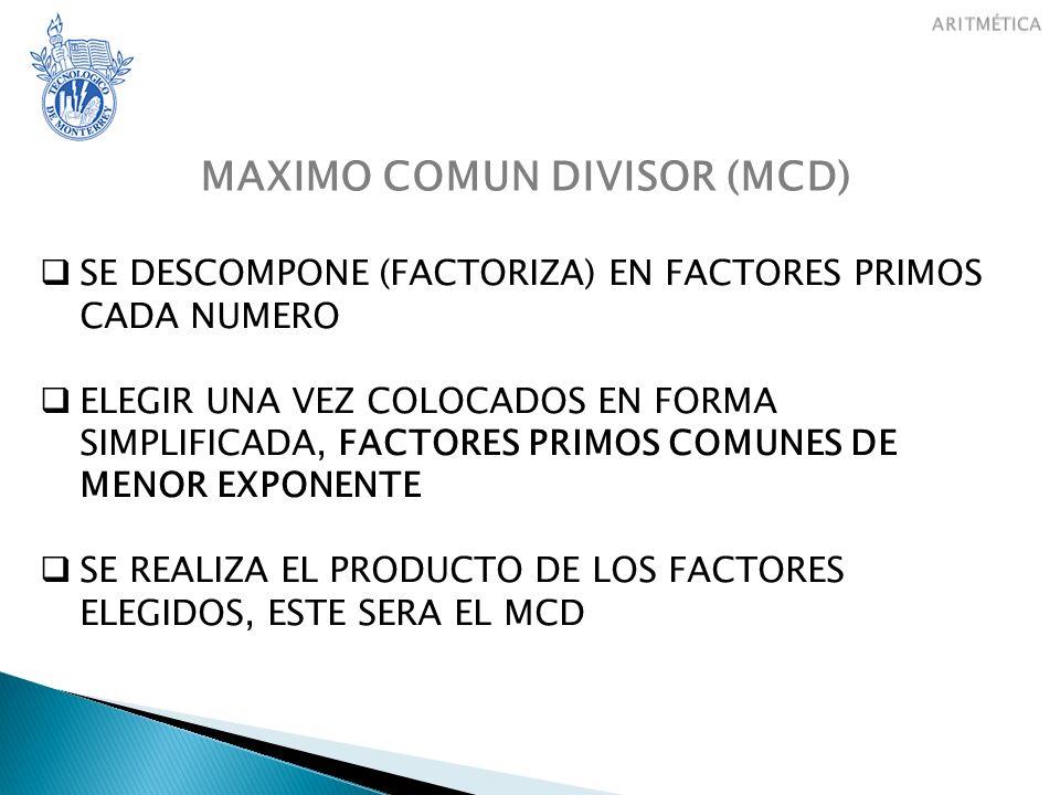 MINIMO COMUN MULTIPLO (mcm) (COMUN DENOMINADOR) SE DESCOMPONE (FACTORIZA) EN FACTORES PRIMOS CADA NUMERO ELEGIR UNA VEZ COLOCADOS EN FORMA SIMPLIFICADA, FACTORES PRIMOS COMUNES y NO COMUNES LOS DE MAYOR EXPONENTE SE REALIZA EL PRODUCTO DE LOS FACTORES ELEGIDOS, ESTE SERA EL mcm
