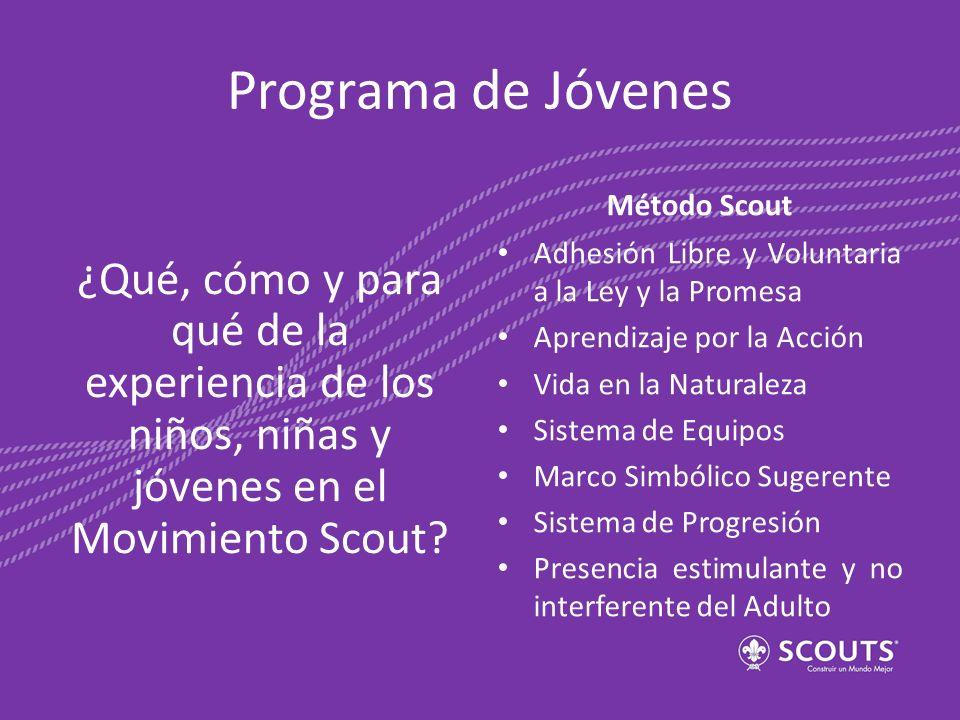 Programa de Jóvenes ¿Qué, cómo y para qué de la experiencia de los niños, niñas y jóvenes en el Movimiento Scout? Método Scout Adhesión Libre y Volunt