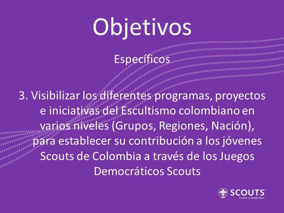 Objetivos Específicos 3. Visibilizar los diferentes programas, proyectos e iniciativas del Escultismo colombiano en varios niveles (Grupos, Regiones,