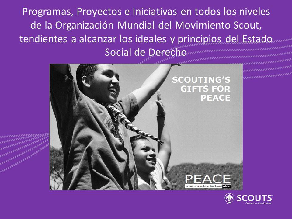 Programas, Proyectos e Iniciativas en todos los niveles de la Organización Mundial del Movimiento Scout, tendientes a alcanzar los ideales y principio