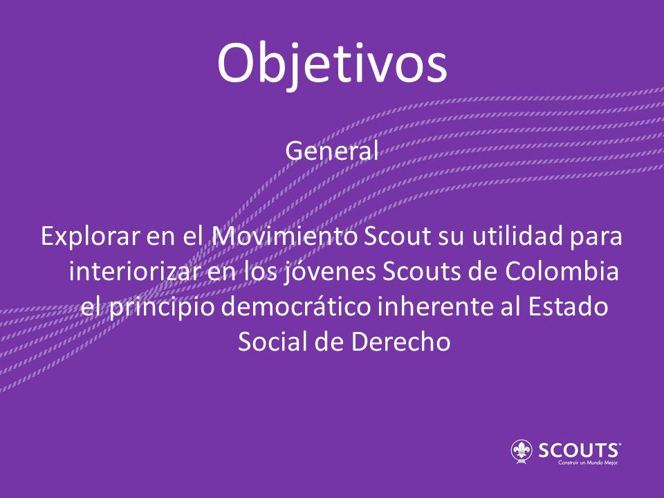 Objetivos General Explorar en el Movimiento Scout su utilidad para interiorizar en los jóvenes Scouts de Colombia el principio democrático inherente a