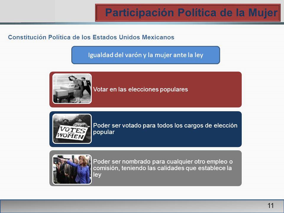 PGR Participación Política de la Mujer 11 Constitución Política de los Estados Unidos Mexicanos Votar en las elecciones populares Poder ser votado par