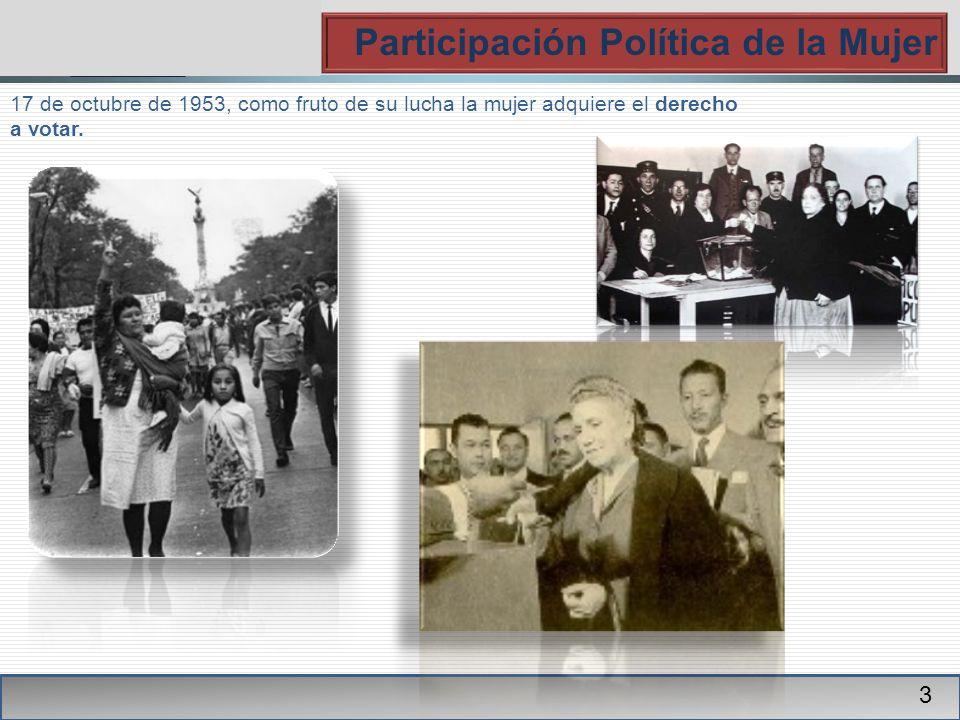 PGR Participación Política de la Mujer 3 17 de octubre de 1953, como fruto de su lucha la mujer adquiere el derecho a votar.