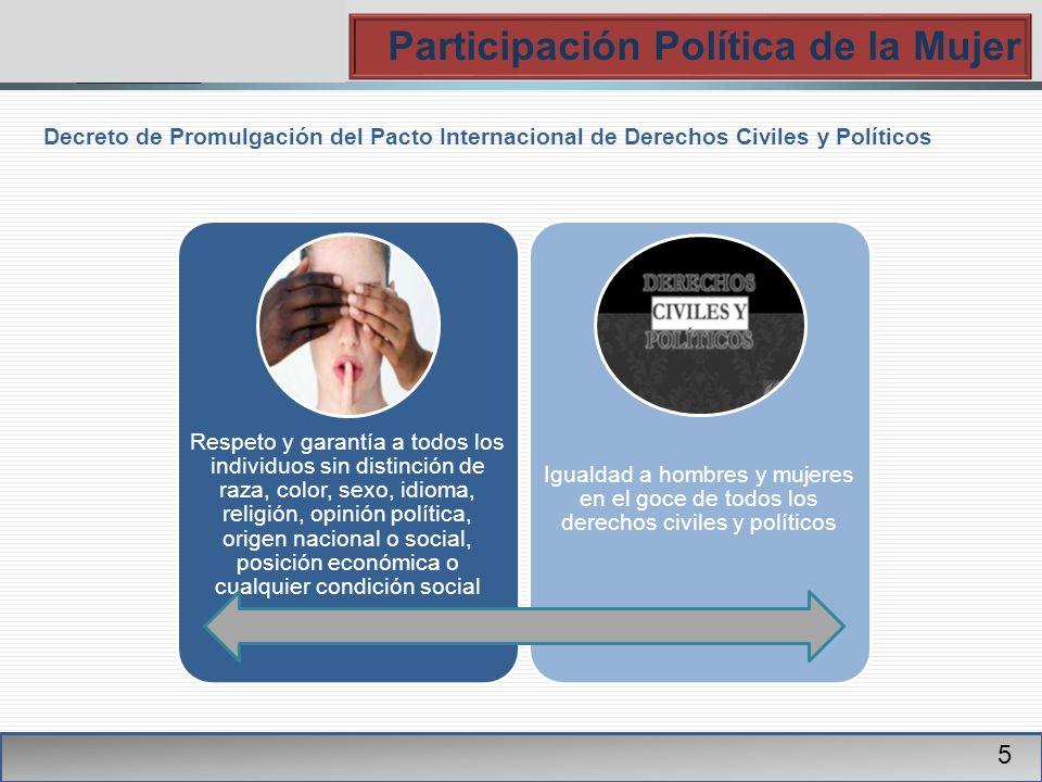 PGR Participación Política de la Mujer 5 Decreto de Promulgación del Pacto Internacional de Derechos Civiles y Políticos Respeto y garantía a todos lo