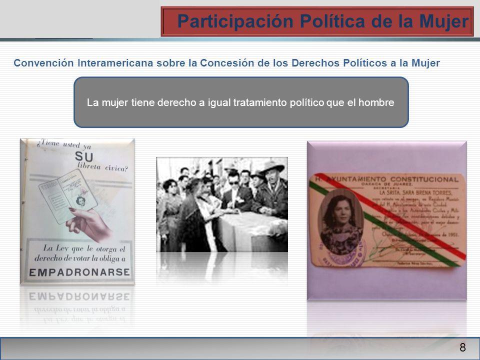 PGR Participación Política de la Mujer 8 Convención Interamericana sobre la Concesión de los Derechos Políticos a la Mujer La mujer tiene derecho a igual tratamiento político que el hombre