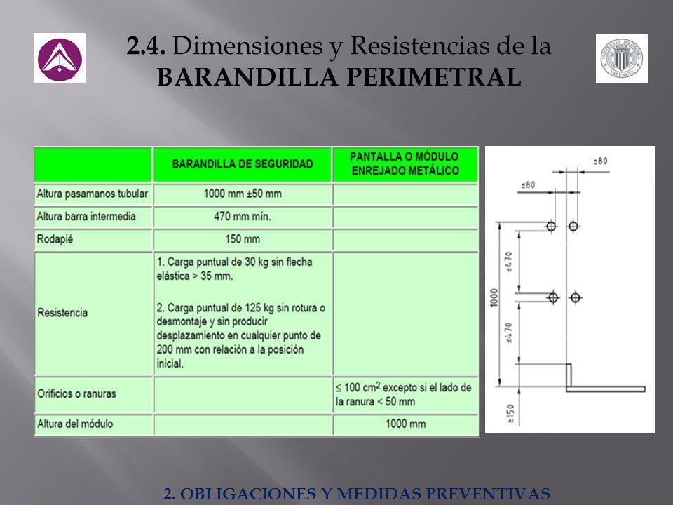 2.4. Dimensiones y Resistencias de la BARANDILLA PERIMETRAL 2. OBLIGACIONES Y MEDIDAS PREVENTIVAS