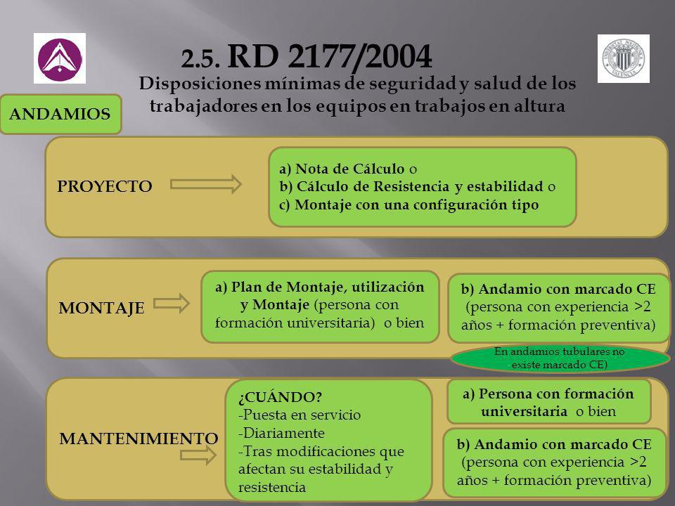 2.5. RD 2177/2004 Disposiciones mínimas de seguridad y salud de los trabajadores en los equipos en trabajos en altura PROYECTO a) Nota de Cálculo o b)