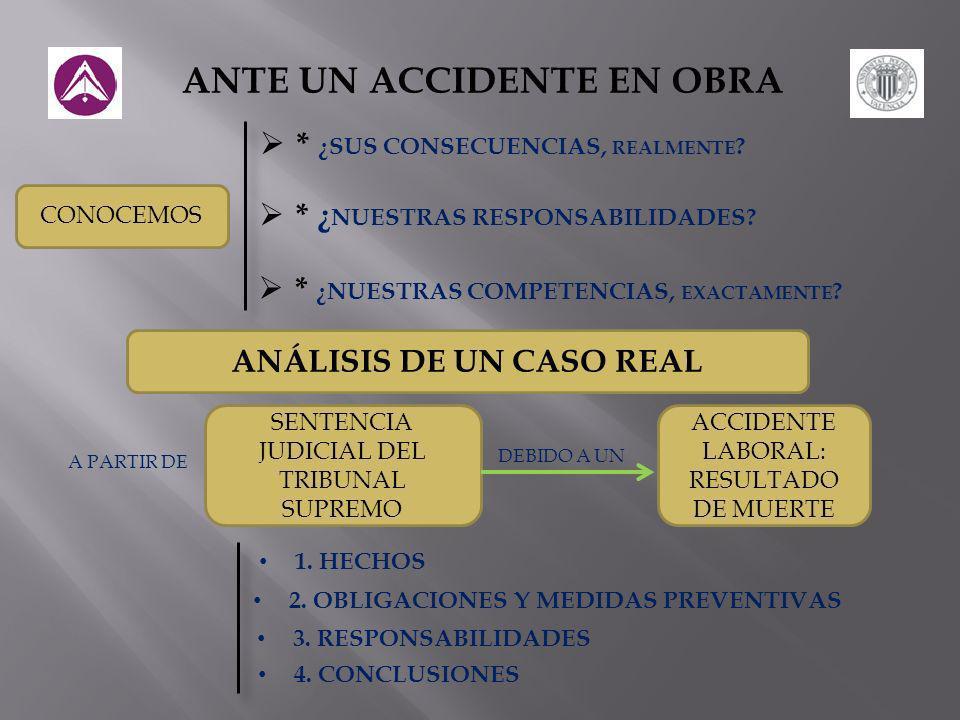 ANTE UN ACCIDENTE EN OBRA * ¿SUS CONSECUENCIAS, REALMENTE .