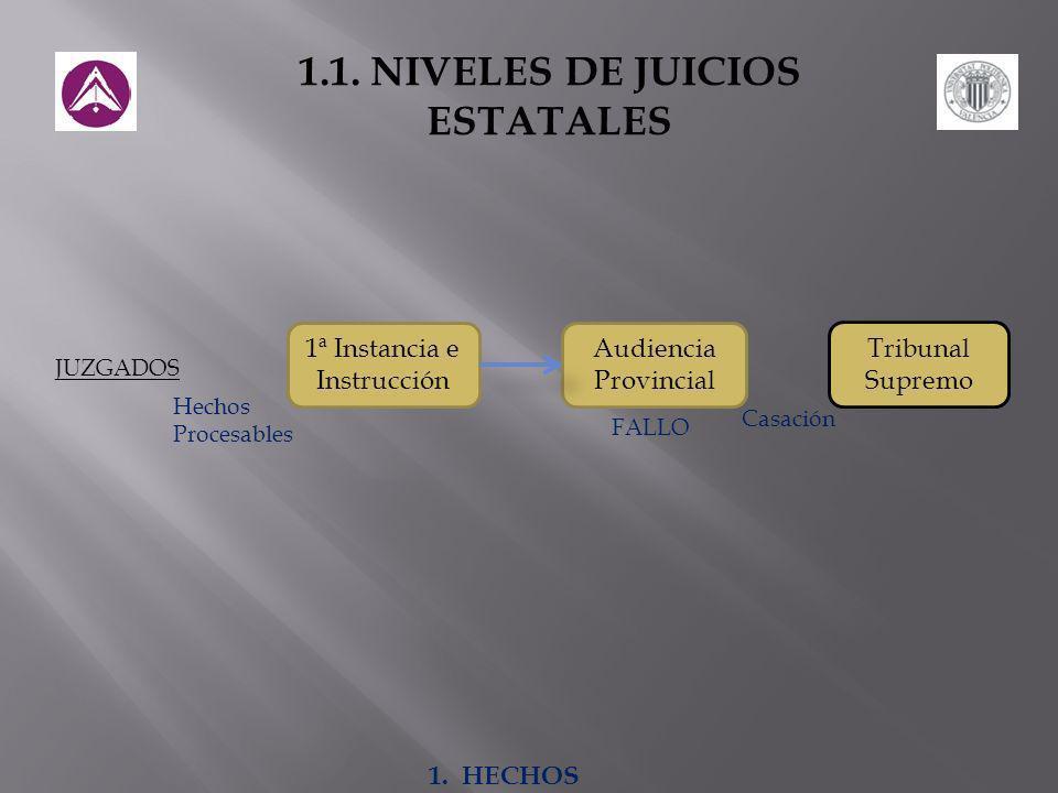 Tribunal Supremo 1ª Instancia e Instrucción Audiencia Provincial JUZGADOS Hechos Procesables FALLO Casación 1.1.