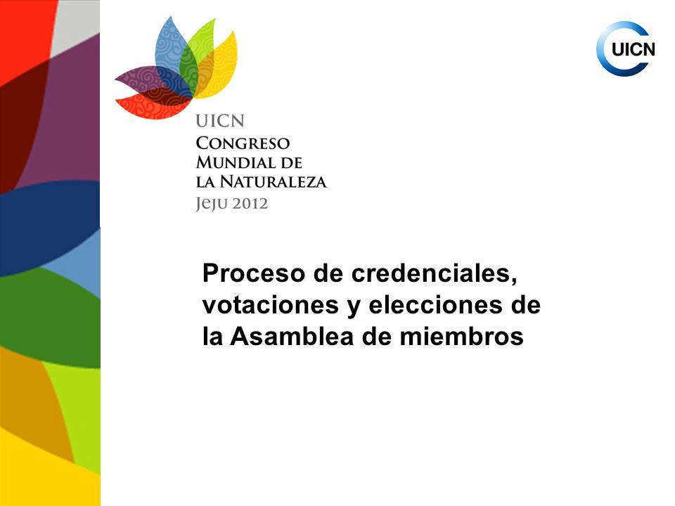 Proceso de credenciales, votaciones y elecciones de la Asamblea de miembros