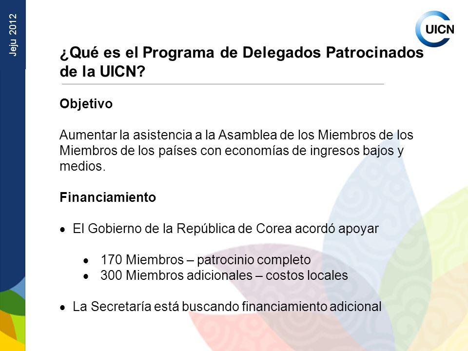 Jeju 2012 ¿Qué es el Programa de Delegados Patrocinados de la UICN.