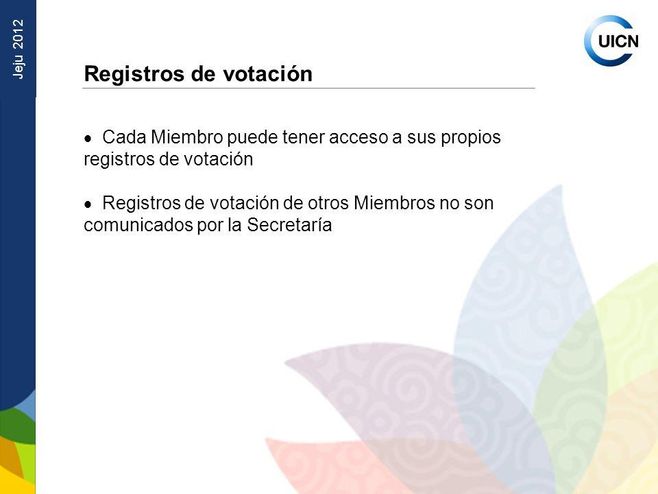 Jeju 2012 Registros de votación Cada Miembro puede tener acceso a sus propios registros de votación Registros de votación de otros Miembros no son comunicados por la Secretaría