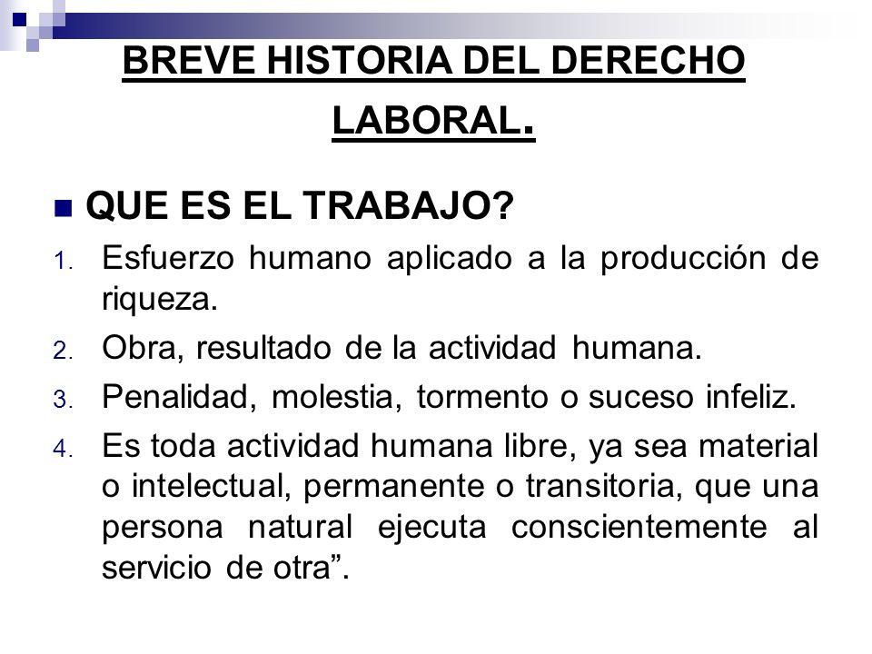 BREVE HISTORIA DEL DERECHO LABORAL.QUE ES EL DERECHO DEL TRABAJO .