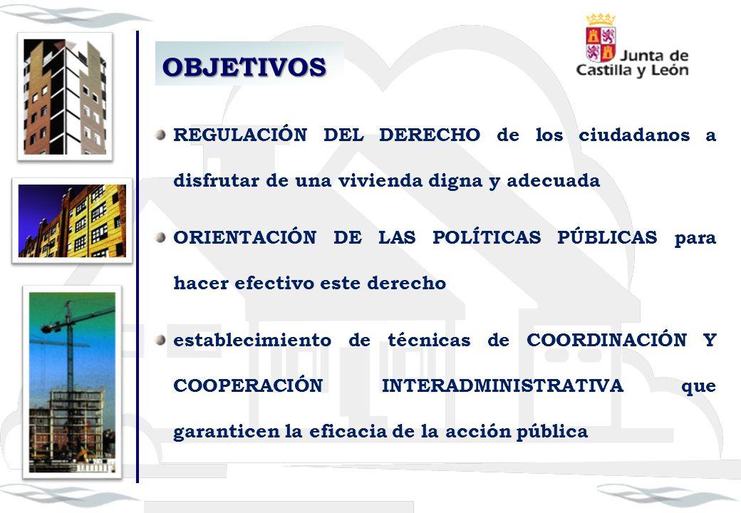 OBJETIVOS REGULACIÓN DEL DERECHO de los ciudadanos a disfrutar de una vivienda digna y adecuada ORIENTACIÓN DE LAS POLÍTICAS PÚBLICAS para hacer efect