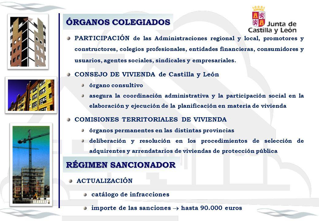 ÓRGANOS COLEGIADOS PARTICIPACIÓN de las Administraciones regional y local, promotores y constructores, colegios profesionales, entidades financieras,