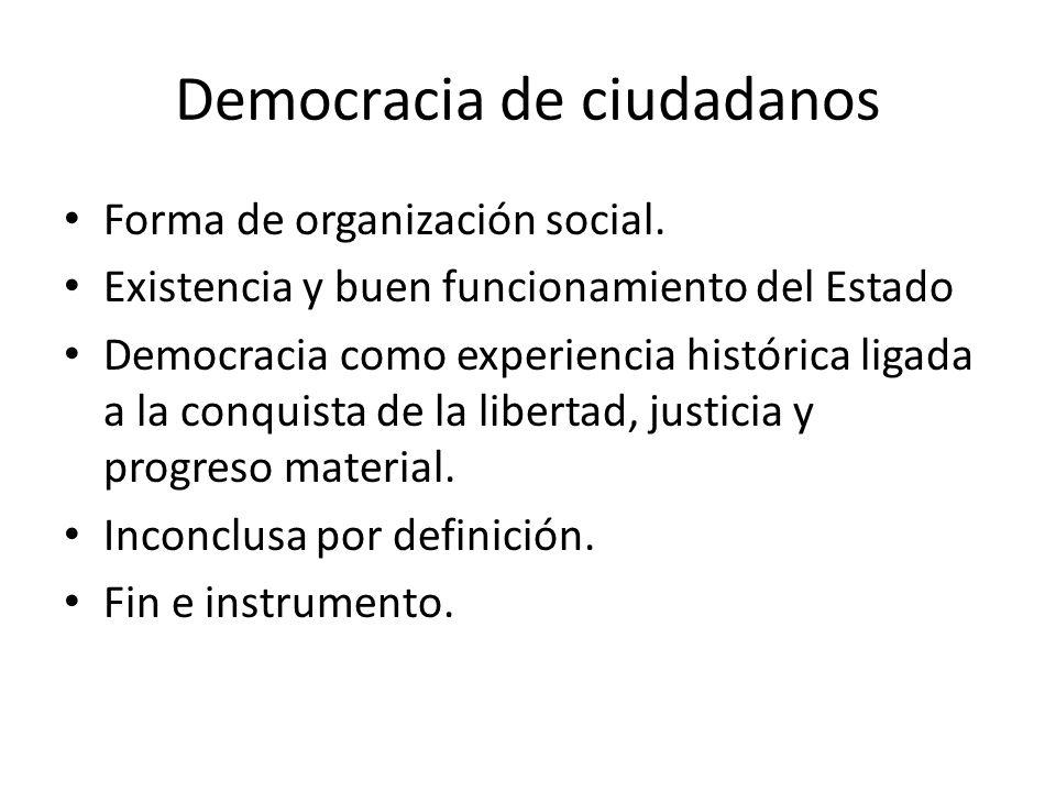Democracia de ciudadanos Forma de organización social.