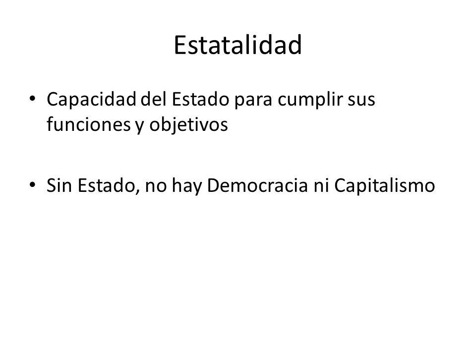 Estatalidad Capacidad del Estado para cumplir sus funciones y objetivos Sin Estado, no hay Democracia ni Capitalismo