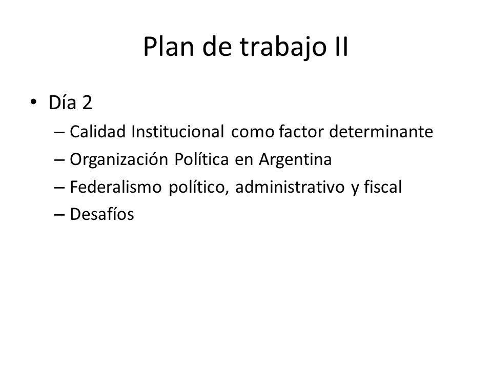 Plan de trabajo II Día 2 – Calidad Institucional como factor determinante – Organización Política en Argentina – Federalismo político, administrativo y fiscal – Desafíos