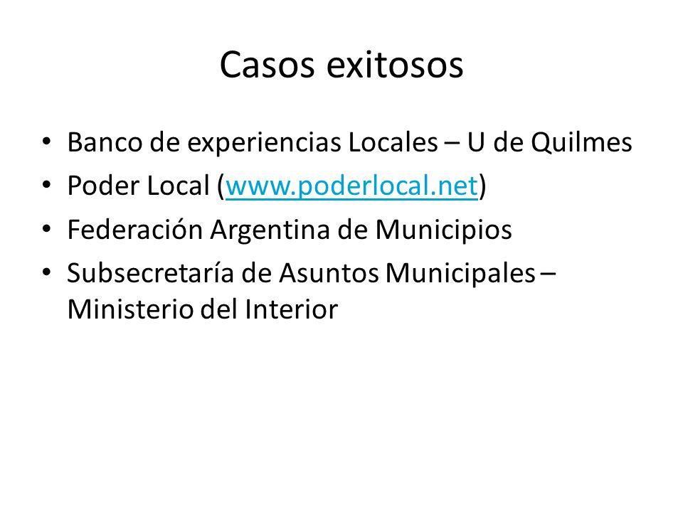 Casos exitosos Banco de experiencias Locales – U de Quilmes Poder Local (www.poderlocal.net)www.poderlocal.net Federación Argentina de Municipios Subsecretaría de Asuntos Municipales – Ministerio del Interior