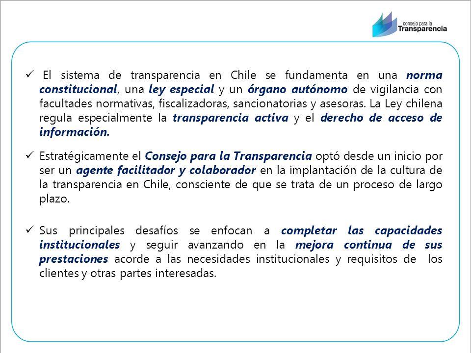 El sistema de transparencia en Chile se fundamenta en una norma constitucional, una ley especial y un órgano autónomo de vigilancia con facultades nor