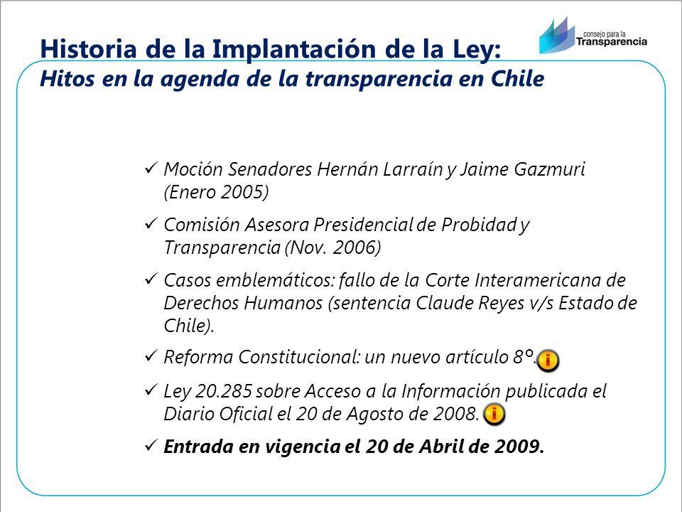 Historia de la Implantación de la Ley: Hitos en la agenda de la transparencia en Chile Moción Senadores Hernán Larraín y Jaime Gazmuri (Enero 2005) Co