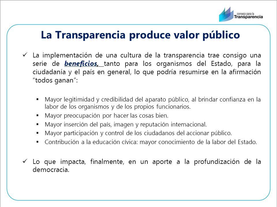 La implementación de una cultura de la transparencia trae consigo una serie de beneficios, tanto para los organismos del Estado, para la ciudadanía y