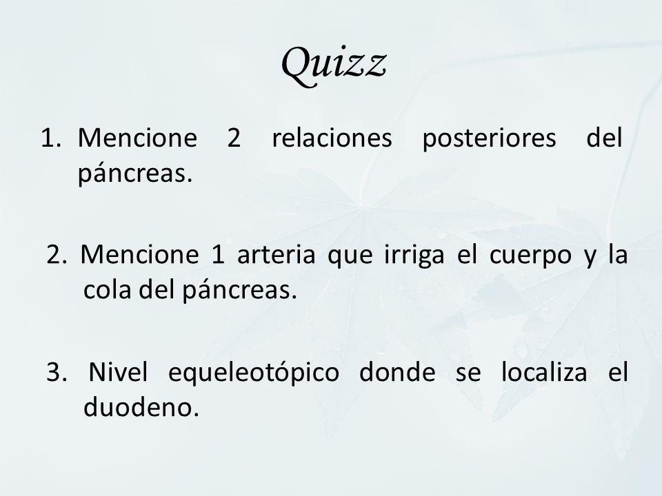 Quizz 1.Mencione 2 relaciones posteriores del páncreas. 2. Mencione 1 arteria que irriga el cuerpo y la cola del páncreas. 3. Nivel equeleotópico dond