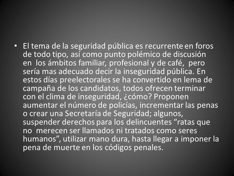 La Constitución General mexicana ha consagrado la seguridad pública como derecho individual y esto se debe interpretar tanto como derecho de abstención del estado respecto a la vida, libertad y patrimonio de los individuos, como obligación de hacer.