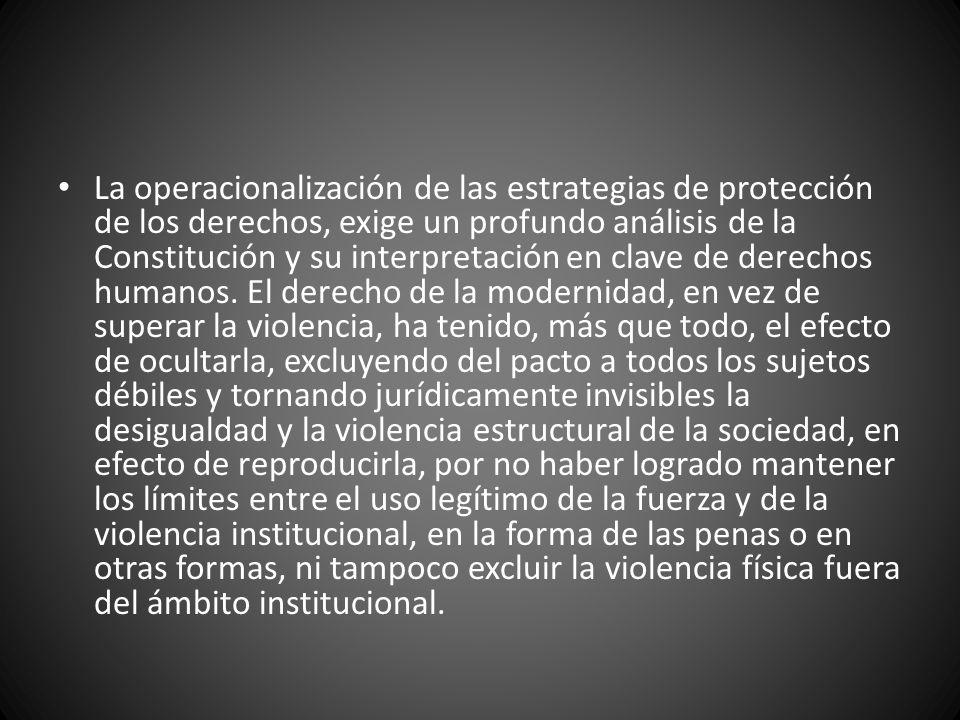 La operacionalización de las estrategias de protección de los derechos, exige un profundo análisis de la Constitución y su interpretación en clave de