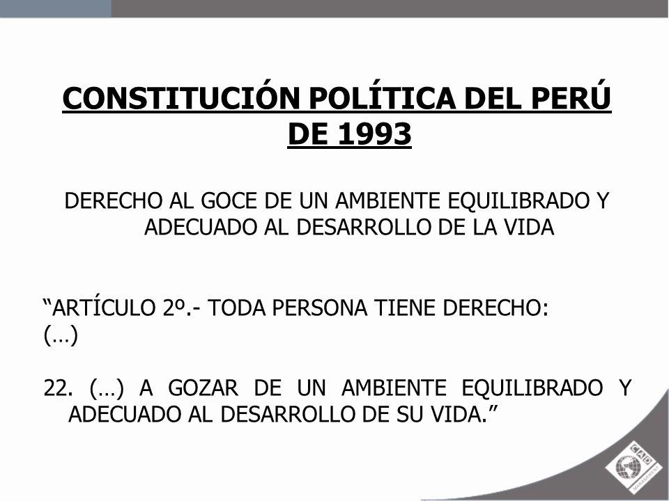 CONSTITUCIÓN POLÍTICA DEL PERÚ DE 1993 DERECHO AL GOCE DE UN AMBIENTE EQUILIBRADO Y ADECUADO AL DESARROLLO DE LA VIDA ARTÍCULO 2º.- TODA PERSONA TIENE