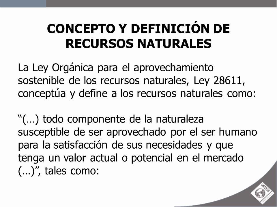 CONCEPTO Y DEFINICIÓN DE RECURSOS NATURALES La Ley Orgánica para el aprovechamiento sostenible de los recursos naturales, Ley 28611, conceptúa y defin