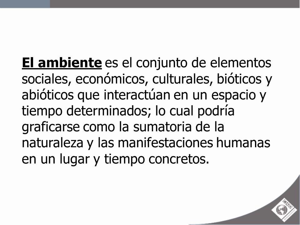 El ambiente es el conjunto de elementos sociales, económicos, culturales, bióticos y abióticos que interactúan en un espacio y tiempo determinados; lo