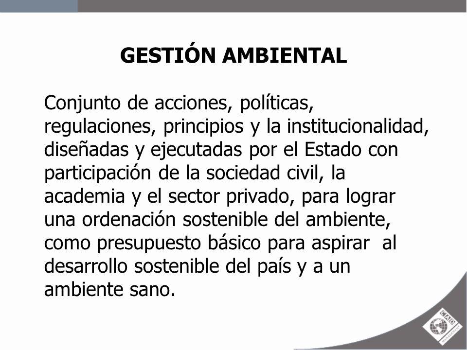 GESTIÓN AMBIENTAL Conjunto de acciones, políticas, regulaciones, principios y la institucionalidad, diseñadas y ejecutadas por el Estado con participa